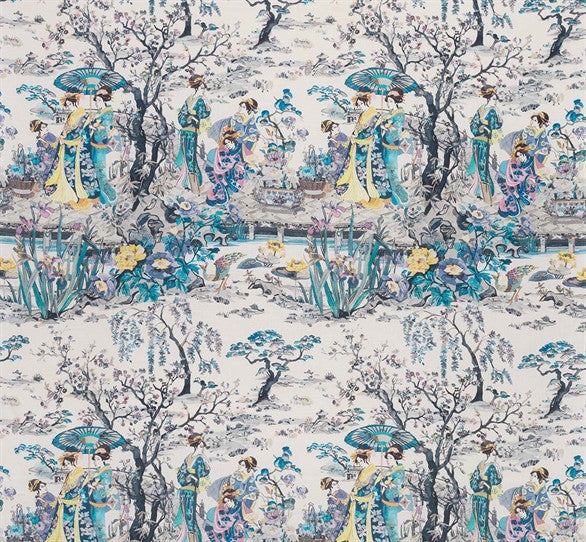 Japanese Garden Fabric in Violet and Petrol from the Enchanted Gardens Collection by Osborne & Little
