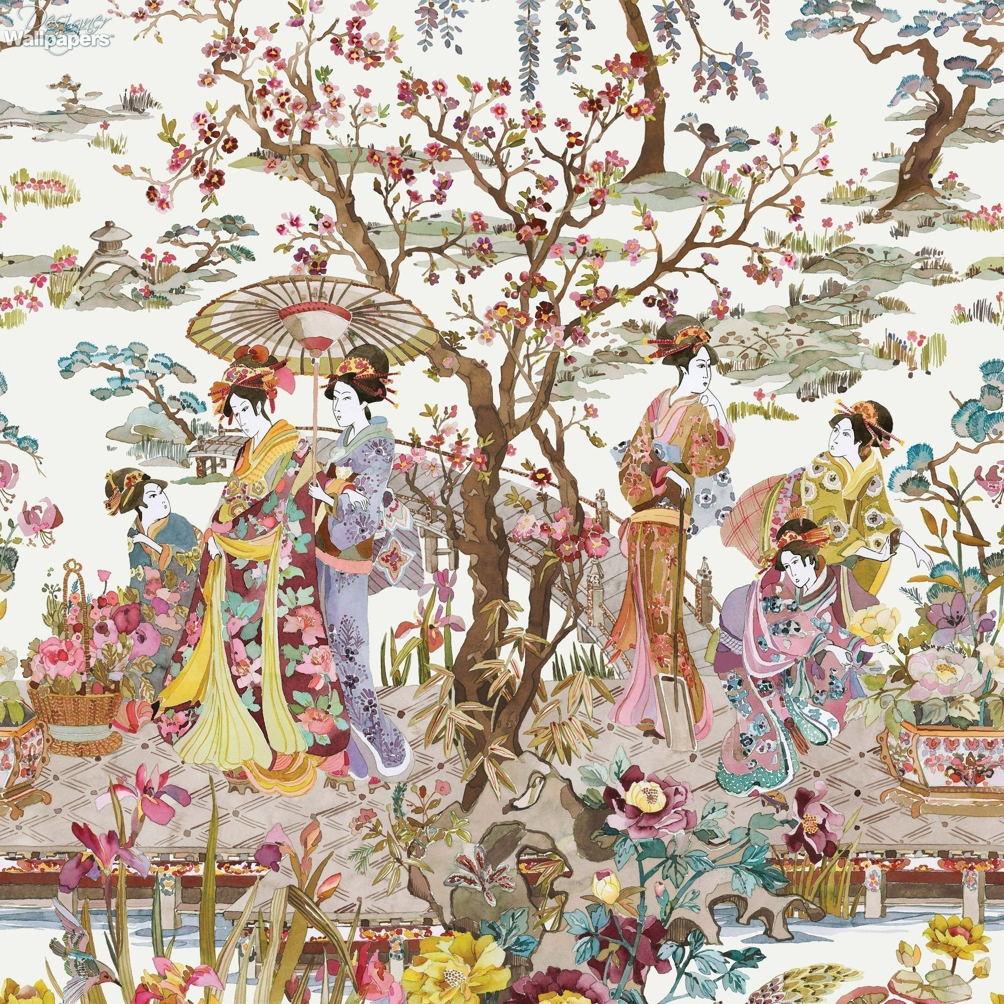 japanese garden wallpaper in ochre from the enchanted gardens collection by osborne little - Japanese Garden Wallpaper