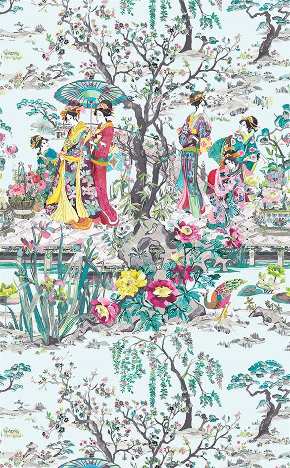 japanese garden wallpaper in teal from the enchanted gardens collection by osborne little - Japanese Garden Wallpaper