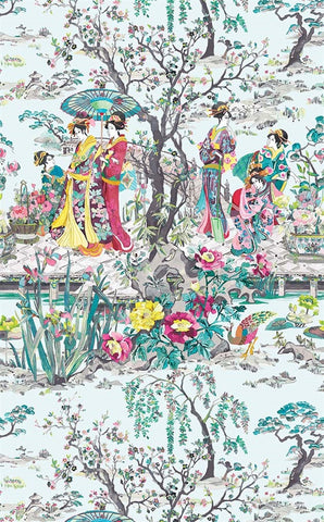 Japanese Garden Wallpaper in Teal from the Enchanted Gardens Collection by Osborne & Little