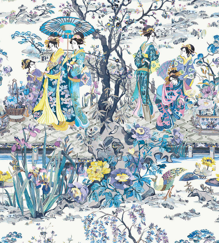 Japanese Garden Wallpaper in Violet from the Enchanted Gardens Collection by Osborne & Little