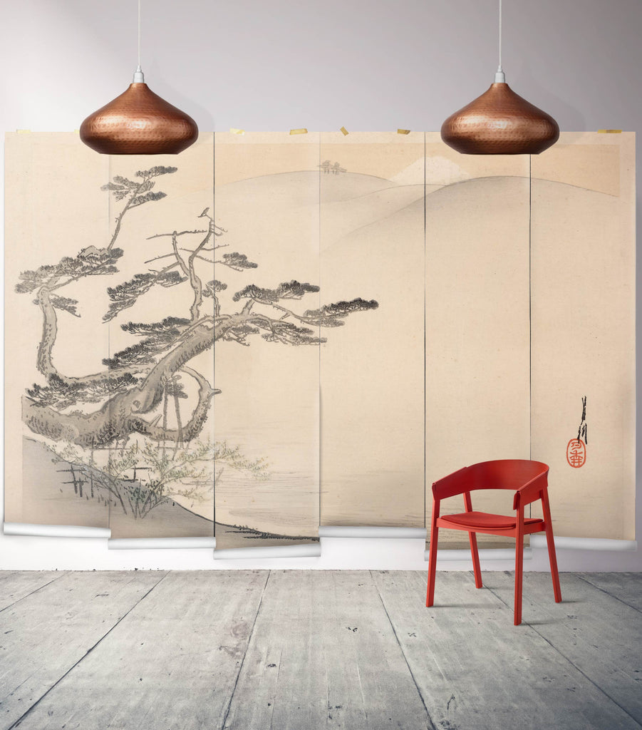Japanese Hillside Wall Mural from the Erstwhile Collection by Milton & King