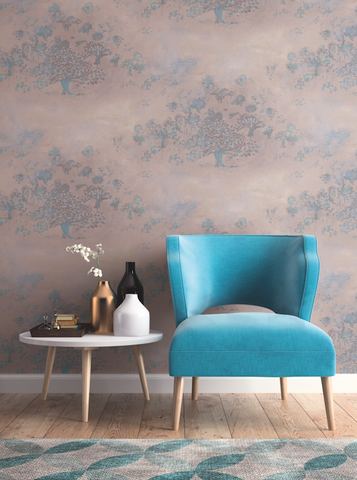 Japanese Tree Wallpaper in Purple, Blue, and Bronze from the Transition Collection by Mayflower