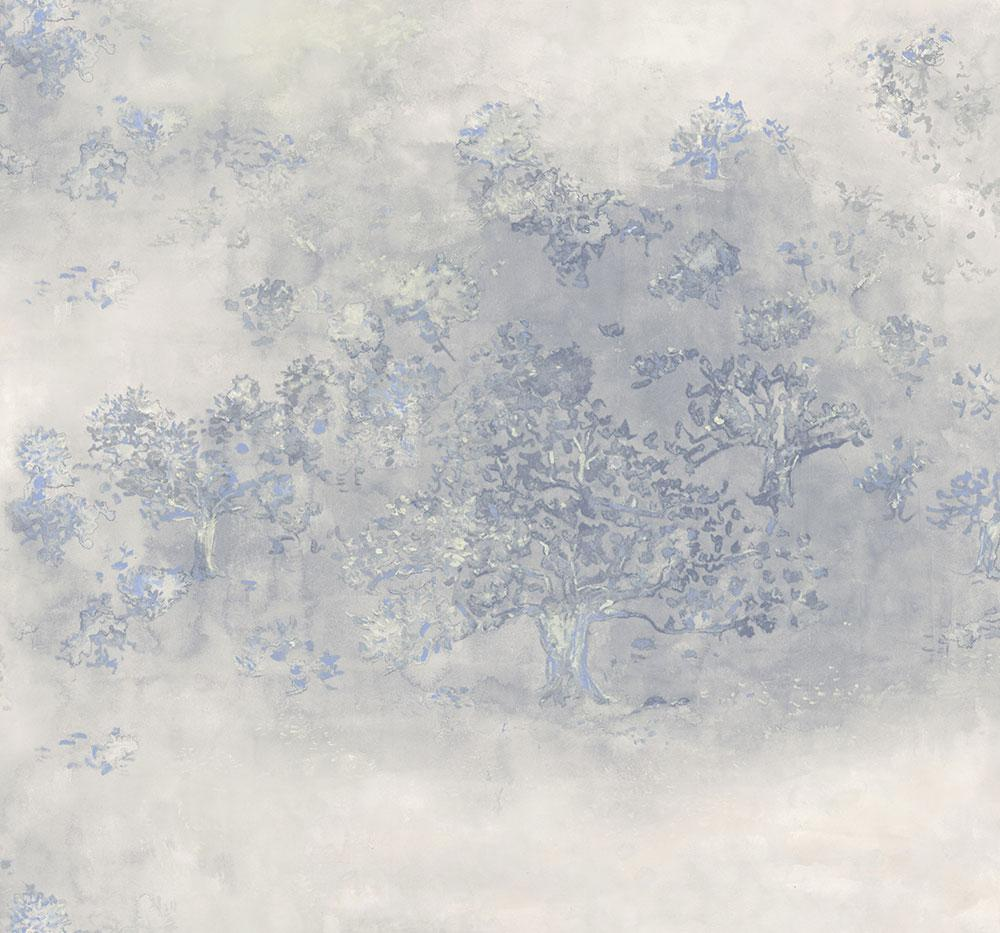 Japanese Tree Wallpaper In Blue Silver And Grey From The