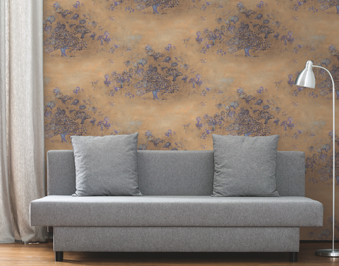 Japanese Tree Wallpaper in Gold, Purple, and Blue from the Transition Collection by Mayflower