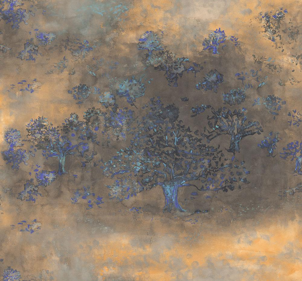 Japanese Tree Wallpaper In Gold Purple And Blue From The
