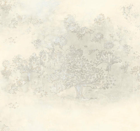 Japanese Tree Wallpaper in Gold, Silver, and Cream from the Transition Collection by Mayflower