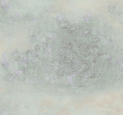 Japanese Tree Wallpaper in Purple, Green, and Grey from the Transition Collection by Mayflower