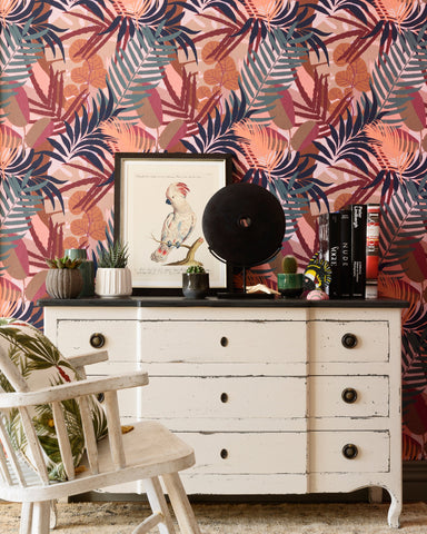Jardin Del Sol Wallpaper in Red and Orange from the Wallpaper Compendium Collection by Mind the Gap