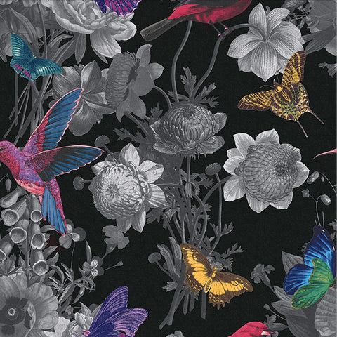 Jardin Wallpaper in Black from the Exclusives Collection by Graham & Brown