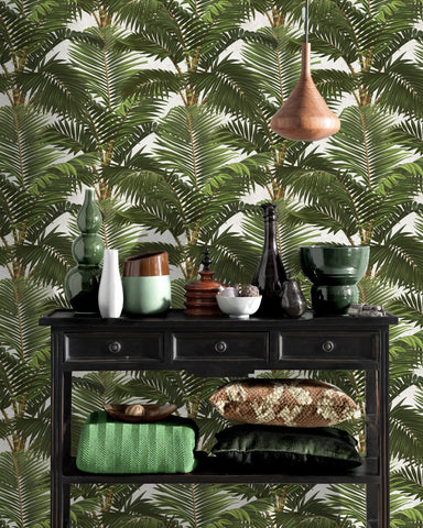 Jardin Tropical Wallpaper in Green and White from the Tropical Vibes Collection by Mind the Gap