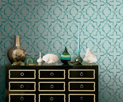 Jarrett Geometric Wallpaper in Greens by Carl Robinson for Seabrook Wallcoverings