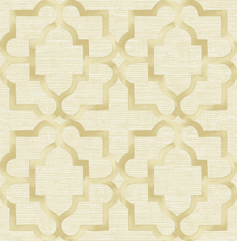 Jarrett Geometric Wallpaper in Gold and Off-White by Carl Robinson for Seabrook Wallcoverings