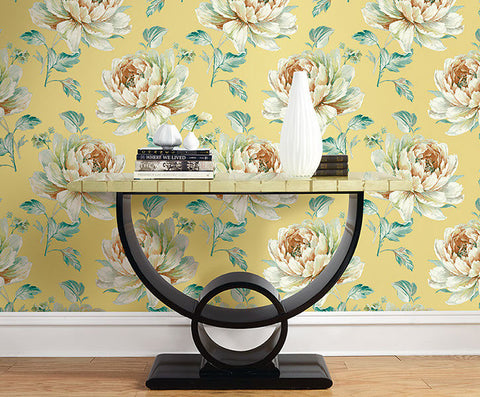 Jarrow Floral Wallpaper in Yellows and Metallic by Carl Robinson for Seabrook Wallcoverings