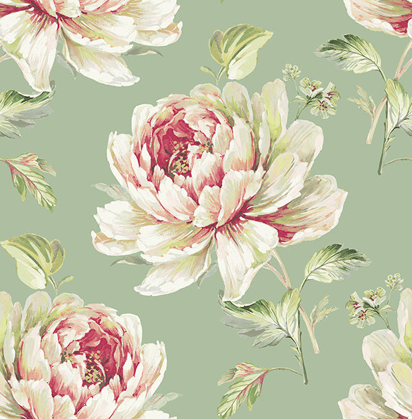 Jarrow Floral Wallpaper in Greens and Reds by Carl Robinson for Seabrook Wallcoverings