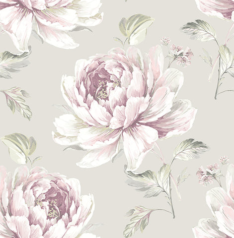 Jarrow Floral Wallpaper in Purples and Metallic by Carl Robinson for Seabrook Wallcoverings