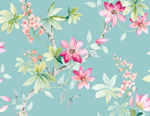 Jasper Floral Wallpaper in Blues and Reds by Carl Robinson for Seabrook Wallcoverings