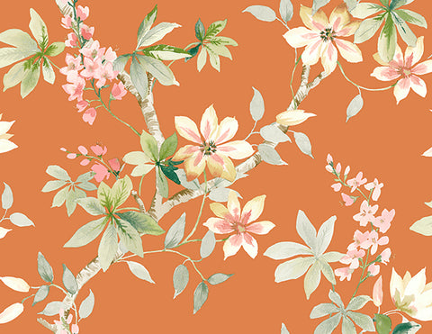 Jasper Floral Wallpaper in Oranges and Greens by Carl Robinson for Seabrook Wallcoverings