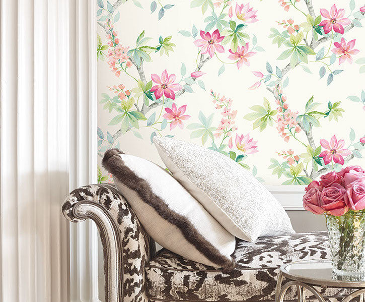 Jasper Floral Wallpaper in Reds, Greens, and White by Carl Robinson for Seabrook Wallcoverings