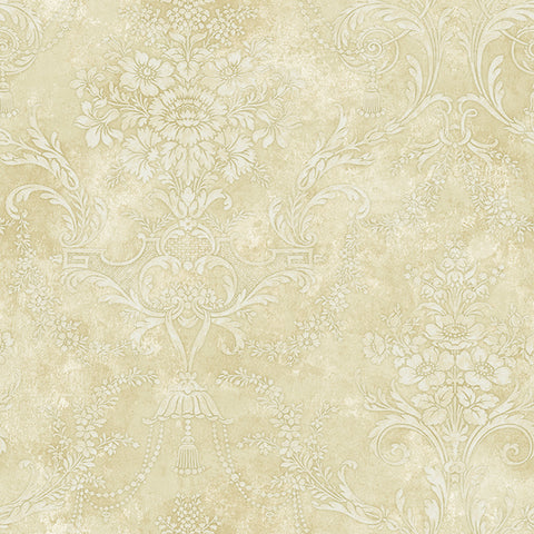 Jeffreys Floral Wallpaper in Beige, Off-White, and Metallic by Carl Robinson for Seabrook Wallcoverings