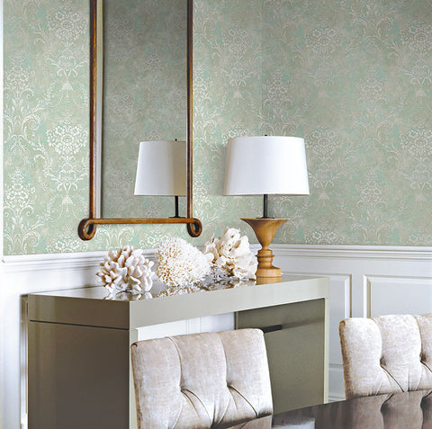 Jeffreys Floral Wallpaper in Greens and White by Carl Robinson for Seabrook Wallcoverings