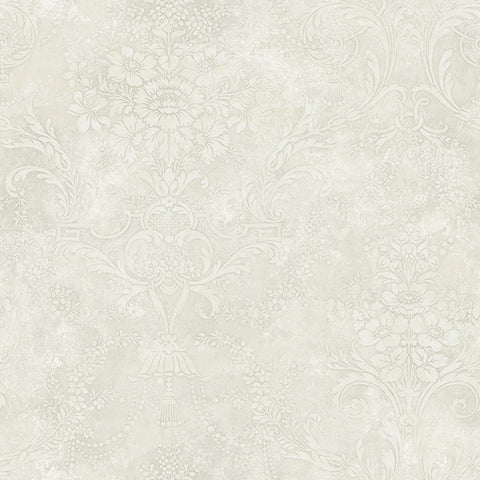 Jeffreys Floral Wallpaper in Greys and White by Carl Robinson for Seabrook Wallcoverings