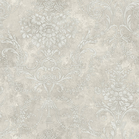 Jeffreys Floral Wallpaper in Greys by Carl Robinson for Seabrook Wallcoverings