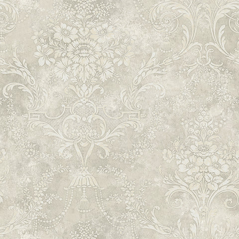 Jeffreys Floral Wallpaper in Ivory and Greys by Carl Robinson for Seabrook Wallcoverings