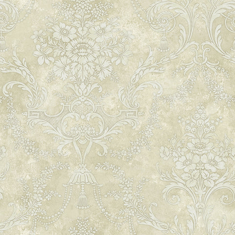 Jeffreys Floral Wallpaper in Off-White and Beiges by Carl Robinson for Seabrook Wallcoverings