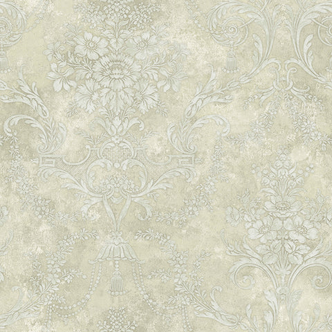 Jeffreys Floral Wallpaper in Off-White and Greens by Carl Robinson for Seabrook Wallcoverings