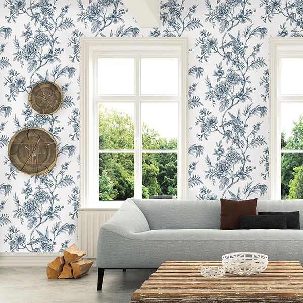 Jessamine Floral Trail Wallpaper in Blue from the Moonlight Collection by Brewster Home Fashions