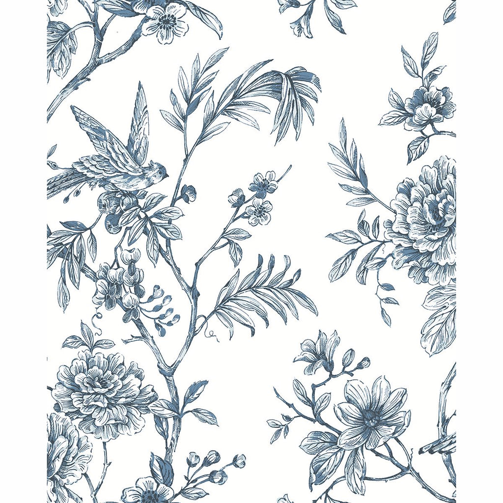 Sample Jessamine Floral Trail Wallpaper in Blue from the Moonlight Collection by Brewster Home Fashions