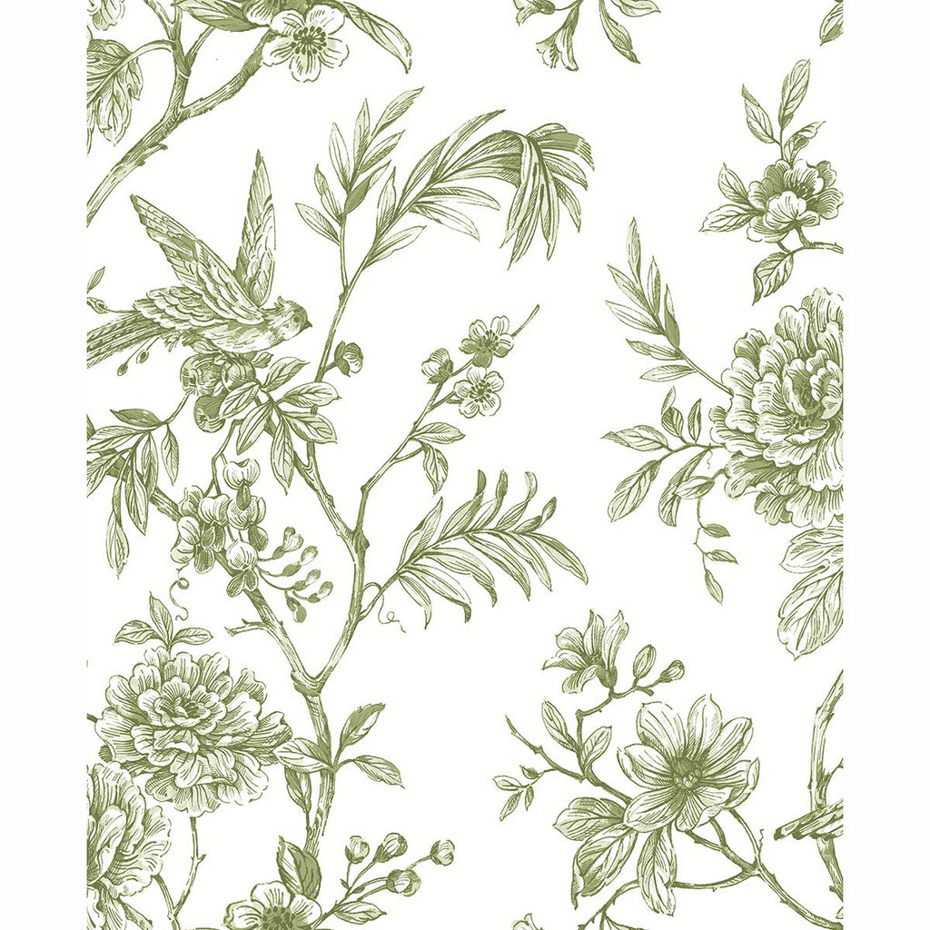 Sample Jessamine Floral Trail Wallpaper in Green from the Moonlight Collection by Brewster Home Fashions