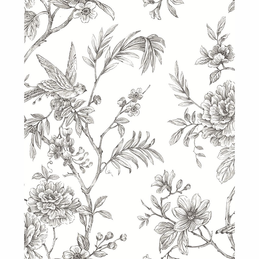Sample Jessamine Floral Trail Wallpaper in Grey from the Moonlight Collection by Brewster Home Fashions