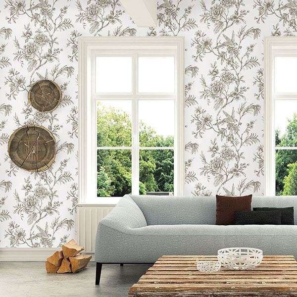 Jessamine Floral Trail Wallpaper in Taupe from the Moonlight Collection by Brewster Home Fashions