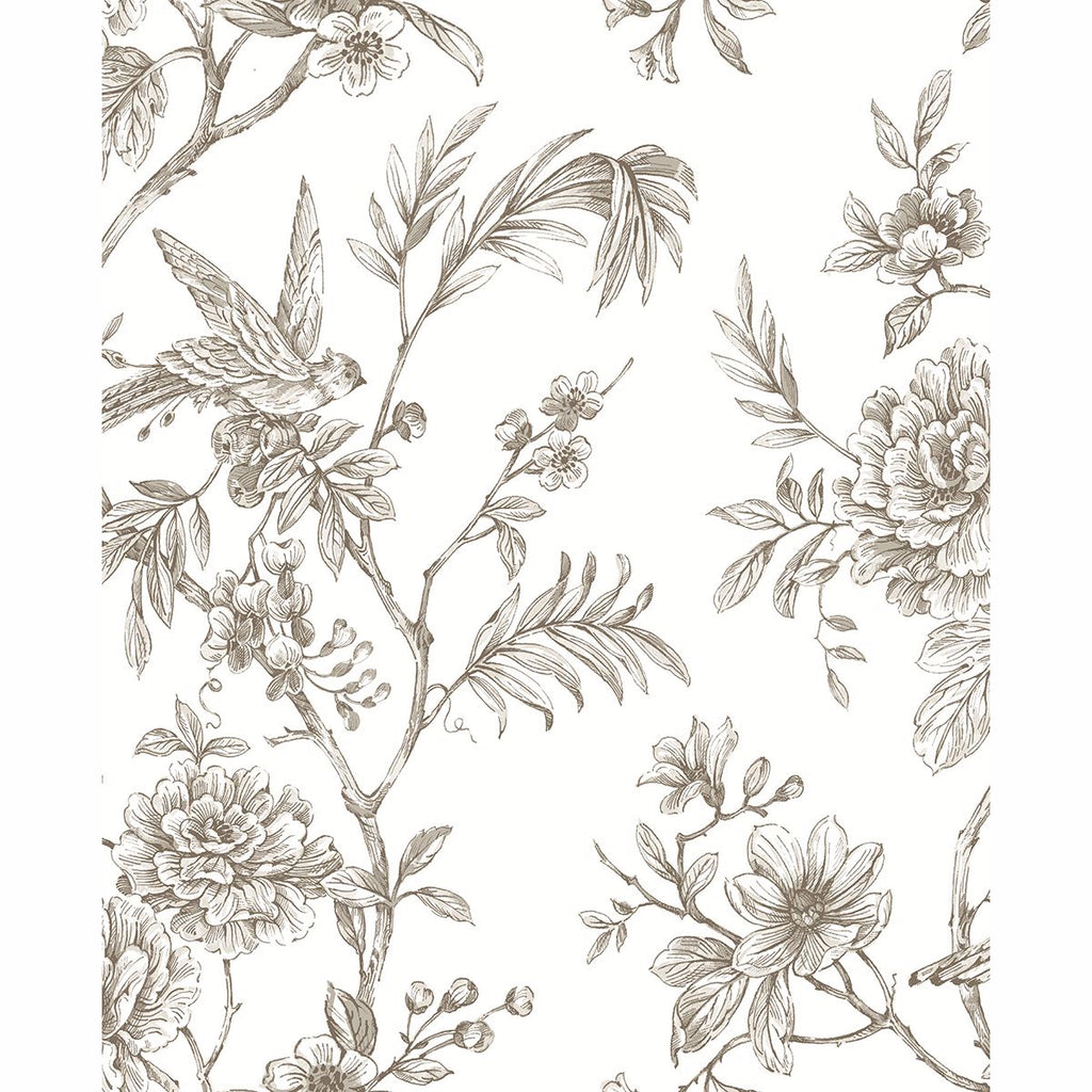Sample Jessamine Floral Trail Wallpaper in Taupe from the Moonlight Collection by Brewster Home Fashions