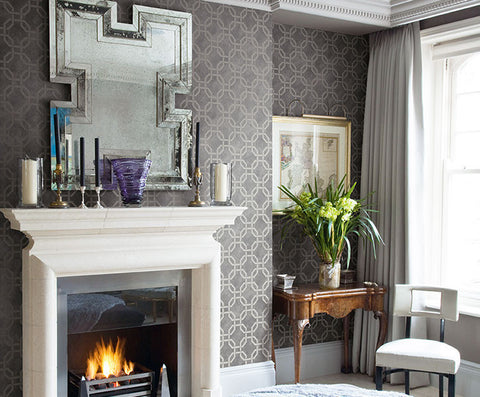 Jessop Geo Wallpaper in Off-White and Neutrals by Carl Robinson for Seabrook Wallcoverings