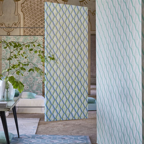 Jourdain Wallpaper in Cobalt from the Mandora Collection by Designers Guild