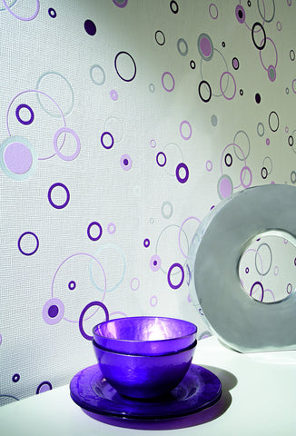 Joyful Circles Wallpaper in Purple and White design by BD Wall