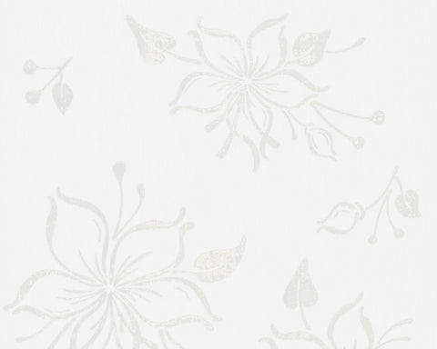 Joyful Floral Wallpaper in Ivory and White design by BD Wall