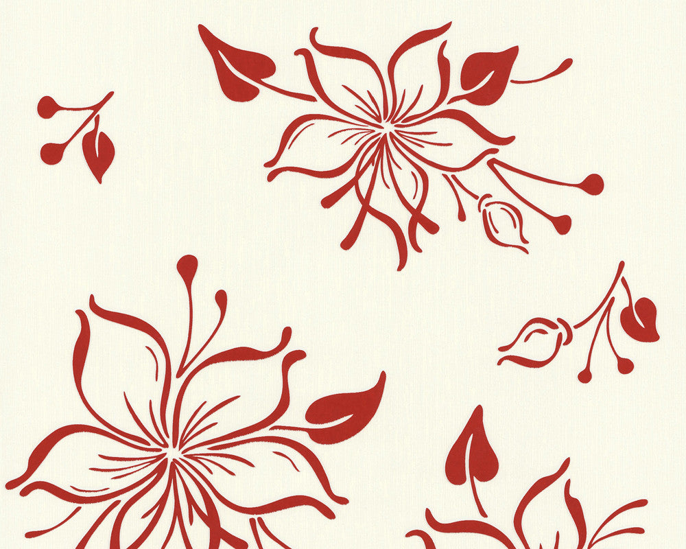 Sample Joyful Floral Wallpaper in Red and White design by BD Wall