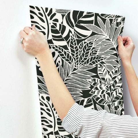 Jungle Leaves Wallpaper in Black and White from the Silhouettes Collection by York Wallcoverings