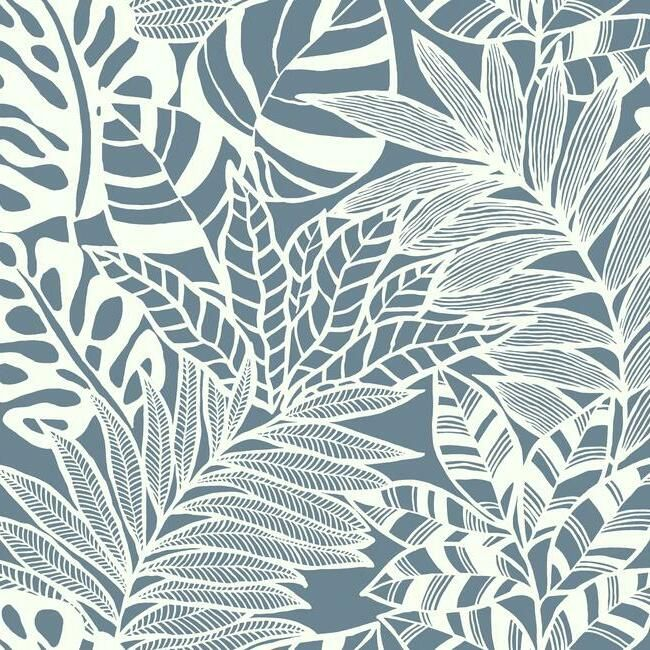 Sample Jungle Leaves Wallpaper in Blue from the Silhouettes Collection by York Wallcoverings