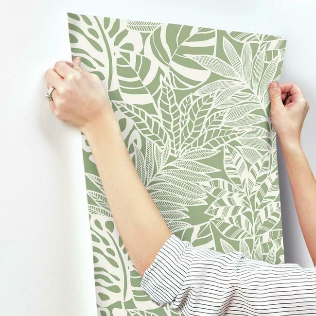 Jungle Leaves Wallpaper in Green from the Silhouettes Collection by York Wallcoverings