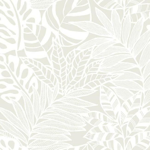 Jungle Leaves Wallpaper in White from the Silhouettes Collection by York Wallcoverings
