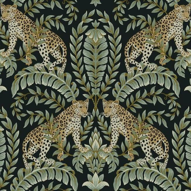 Sample Jungle Leopard Wallpaper in Black and Green from the Ronald Redding 24 Karat Collection by York Wallcoverings