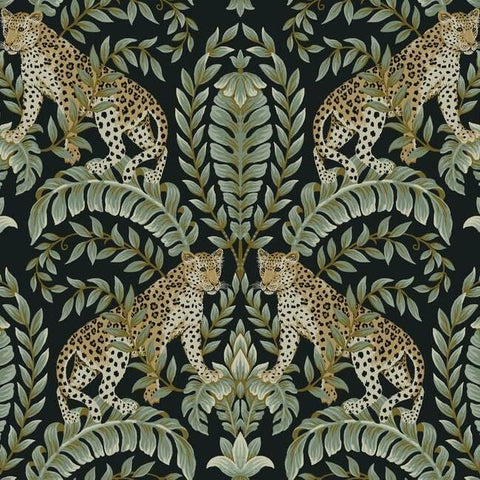 Jungle Leopard Wallpaper in Black and Green from the Ronald Redding 24 Karat Collection by York Wallcoverings