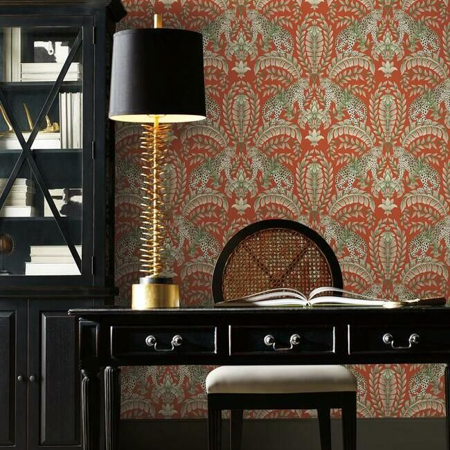 Jungle Leopard Wallpaper in Orange from the Ronald Redding 24 Karat Collection by York Wallcoverings