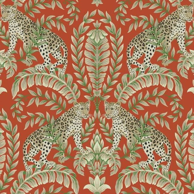 Sample Jungle Leopard Wallpaper in Orange from the Ronald Redding 24 Karat Collection by York Wallcoverings