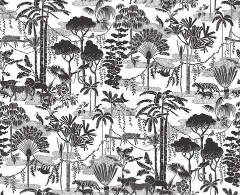 Jungle Dream Wallpaper in Charcoal design by Aimee Wilder